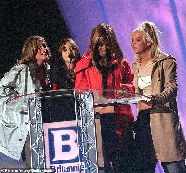 Jade said: 'This award isn't just for us, it's for the Spice Girls, Sugababes, All Saints [pictured in 1998], Girls Aloud. All of the incredible, incredible female bands – this one's for you!'