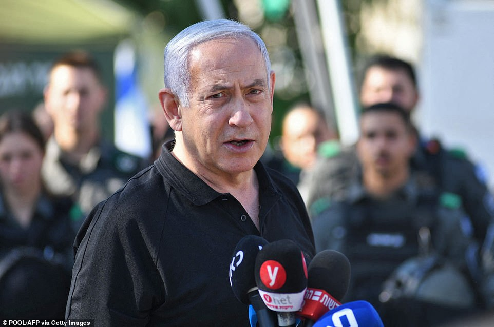 Netanyahu gives a speech to officers charged with keeping the peace in Lod, which has seen synagogues, shops and cars burned during two nights of rioting by Israeli Arabs