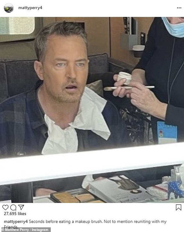 Makeup:Perry actually sent a snap from his makeup chair on set to his Instagram followers, though it was quickly deleted