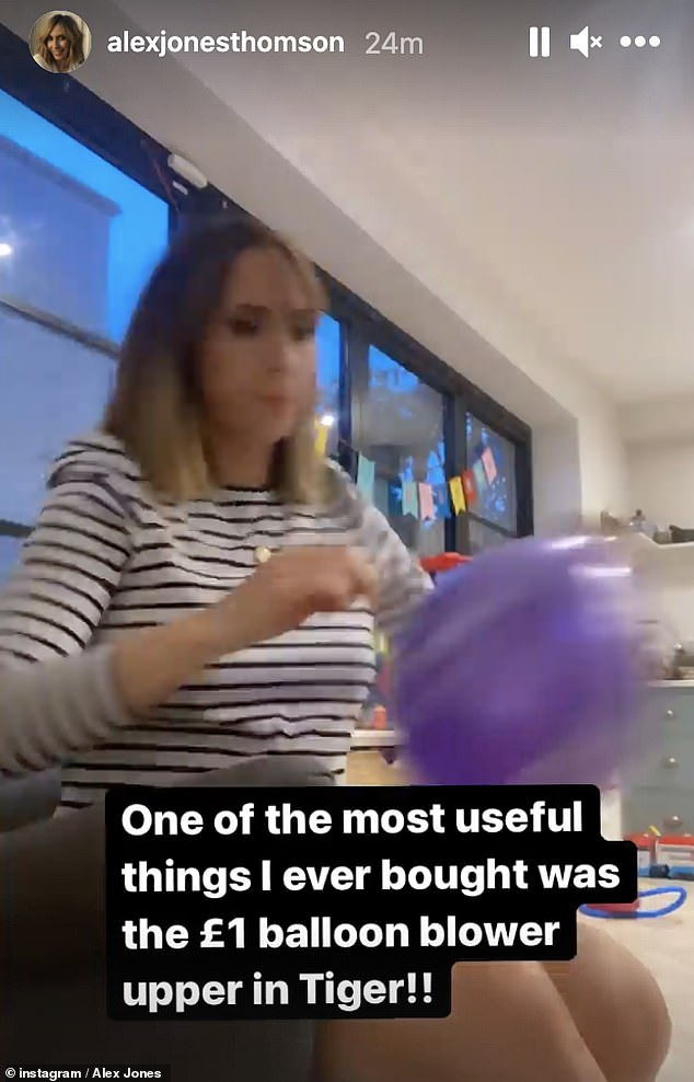 Getting ready:After presenting the show, Alex headed home to prepare for her son Kit's birthday by blowing up some balloons and putting up a multi-coloured banner