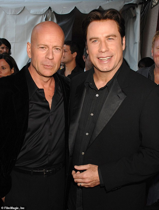 Massive:Willis has racked up over $9.4 billion at the box office worldwide in his feature acting credits, while Travolta's features accumulated over $3.8 billion globally; old friends and colleagues are pictured in 2007