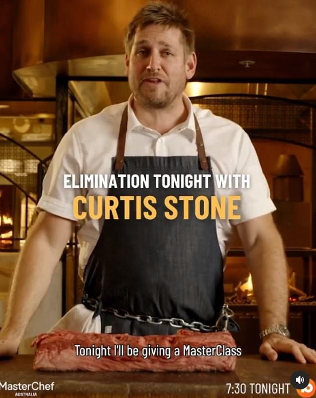 Coming soon:Curtis is set to appear as a guest judge on Sunday's MasterChef Australia