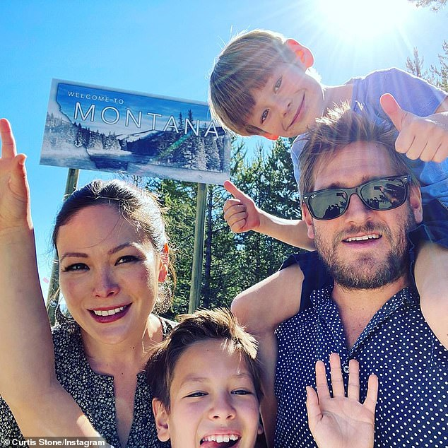 Family: Curtis lives in Los Angeles' Brentwood with Lindsay and their children; sons Hudson, nine, and Emerson, six (all pictured)