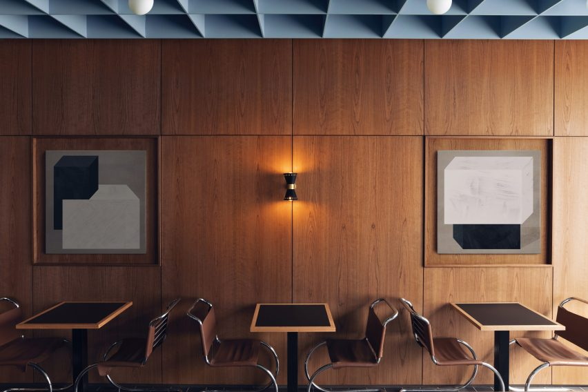 Wood-paneleld walls with MR10 tubular steel chairs by Mies van der Rohe in restaurant by Child Studio