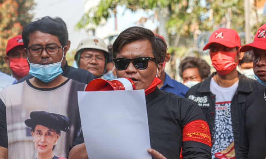 San Nyein Oo who is from the Poet union reads a statement of condolence after poet Thet Naing Win was shot dead by the Myanmar security forces