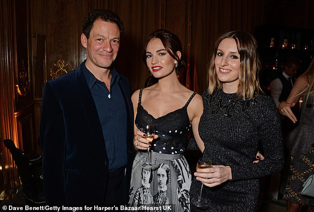 Drama: Back in October, Lily James, 32, (middle) and married Dominic West, 51, (left) were caught kissing in Rome, pictured with Laura Carmichael together on October 30, 2018