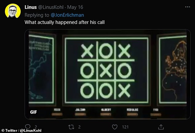 The clip received mixed reactions on Twitter. Pictured, a reference to the1983 film 'War Games', which prominently featured an acoustic coupler early on in the movie