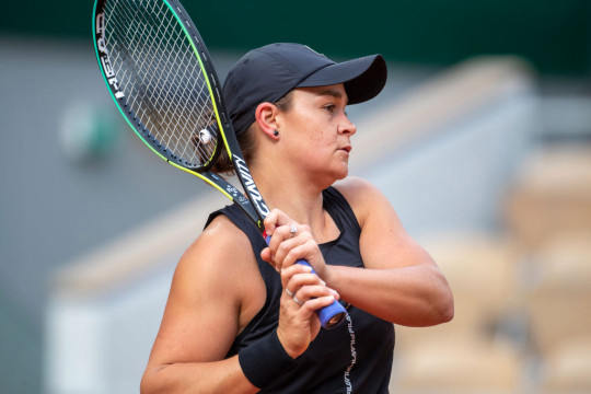 Ashleigh Barty of Australia practicing against Naomi Osaka of Japan on Court Philippe-Chatrier during a practice match in preparation for the 2021 French Open Tennis Tournament at Roland Garros on May 2pm 6th 2021 in Paris, France.