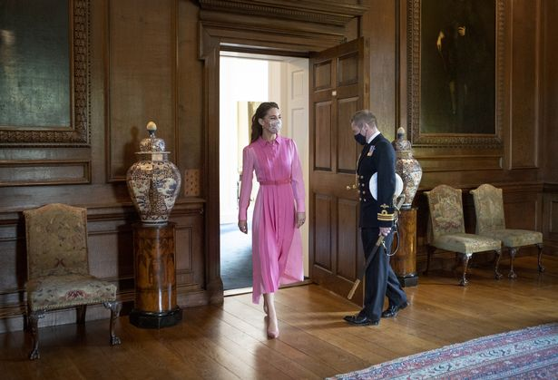 The Duchess of Cambridge arrives to meet Mila Sneddon, and her family, at the Palace of Holyroodhouse in Edinburgh