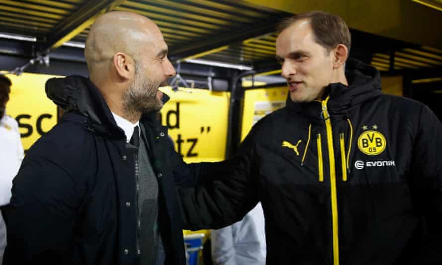 Thomas Tuchel and Pep Guardiola before Borussia Dortmund's game against Bayern Munich in March 2016.