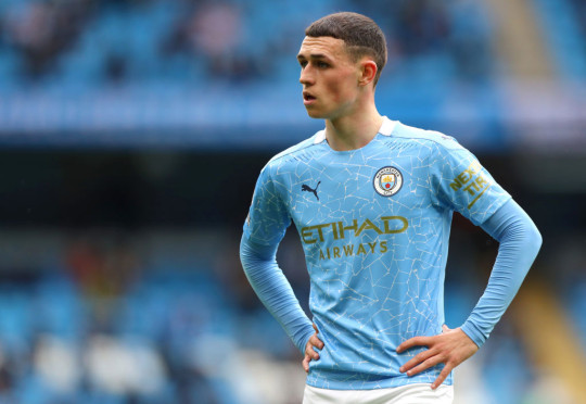 Phil Foden looks on during Manchester City's Premier League clash with Everton