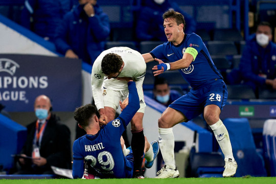 Chelsea stars Kai Havertz and Cesar Azpilicueta in the thick of it during Real Madrid clash