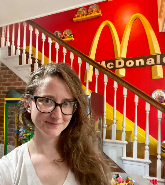 Taylor gecking in her mcdonald's themed home