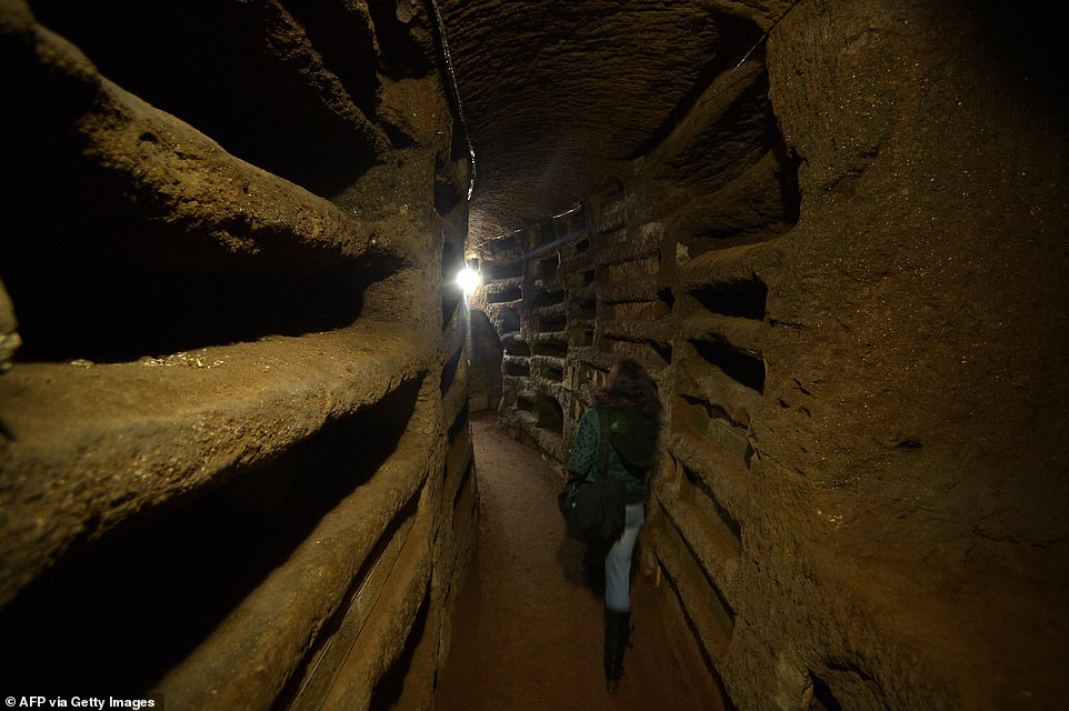 The Catacombs of Rome (pictured: Saint Priscilla catacombs in 2013) make up a vast amount of subterranean passageways underneath the city, which were used as underground burial grounds from the second to the fifth century