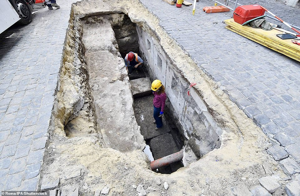 Last year, the Piazza del Pantheon rediscovered its original Hadrian Era flooring (pictured) after a sinkhole more than two metres deep opened up in front of the former Roman temple