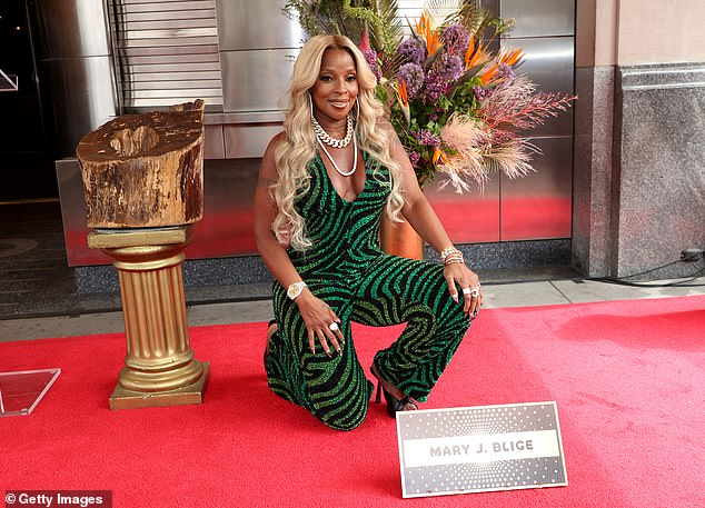 Fan love: Forbes spoke at the induction ceremony which was attended by a large crowd of Blige's fans who gathered to see the star in person