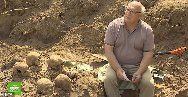 Historian Viktor Strelkin (pictured) spoke to eyewitnesses and prisoners who are still alive, who were able to direct him to the site of the mass grave