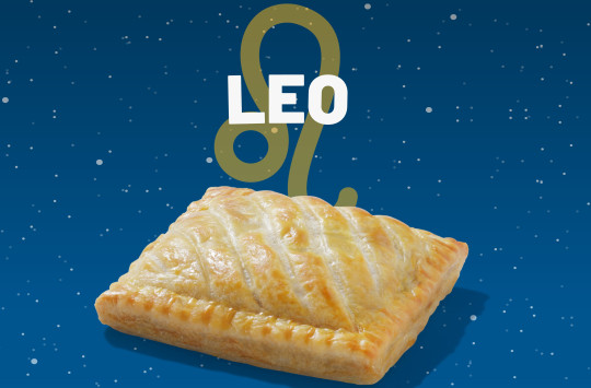 A Greggs steak bake with the word Leo above it.