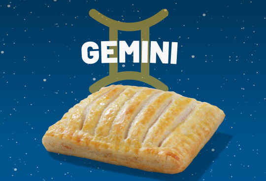 A Greggs sausage, bean and cheese melt with the word Gemini above it.