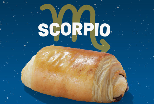 A Greggs pain au chocolat with the word Scorpio above it.