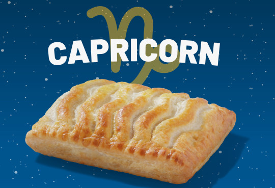 A Greggs chicken bake with the word  Capricorn above it.