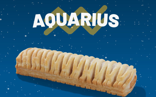 A Greggs vegan sausage roll with the word Aquarius above it.