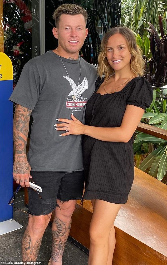 Growing family! Susie welcomed Lion with her NRL starfiancé Todd Carney (left) two months ago