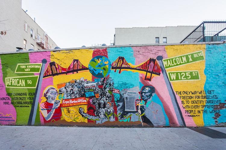 Mural of Yuri Kochiyama and Malcolm X in New York.