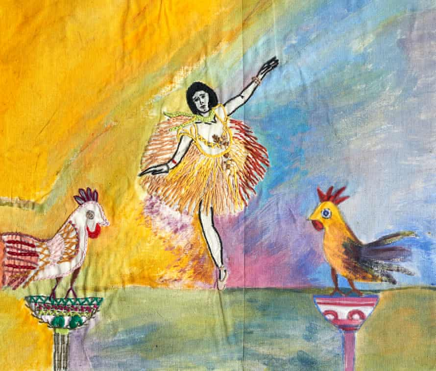 The inspiration for this watercolour and embroidery piece is Degas' dancers, but Fauzia has added her own elements.
