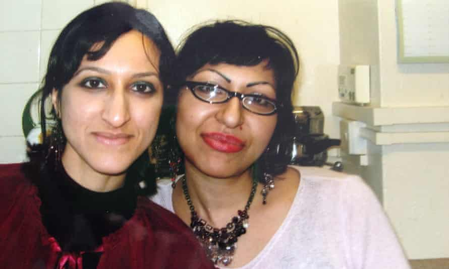 Arifa Akbar (left), and Fauzia at their parents' home in London, around 2005.
