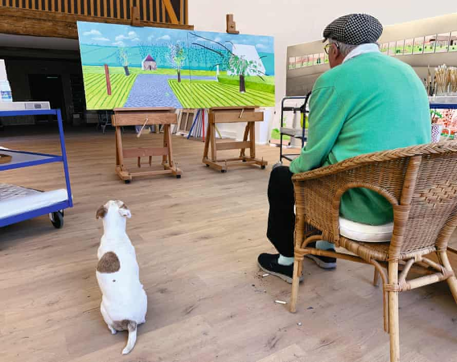 David Hockney and his dog, Ruby, in his Normandy studio, May 2020.