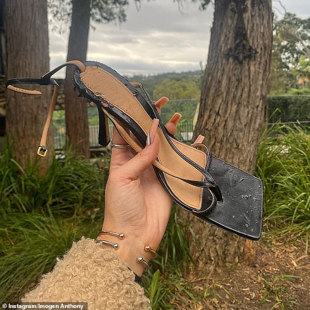 Oh dear:The model shared a photo showing the mangled $1240 Bottega Veneta high-heel sandal.She wrote: 'Has your soul ever been ripped out while you're still alive, then set on fire and put out with a fork? Free c**t, I mean dog to a good home. Jokes, but considered it'