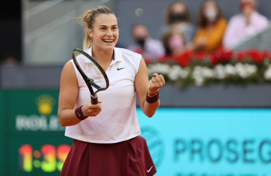 Aryna Sabalenka celebrates match point during the womens single final match between Aryna Sabalenka and Ashleigh Barty on Day Ten of the Mutua Madrid Open at La Caja Magica on May 08, 2021 in Madrid, Spain.