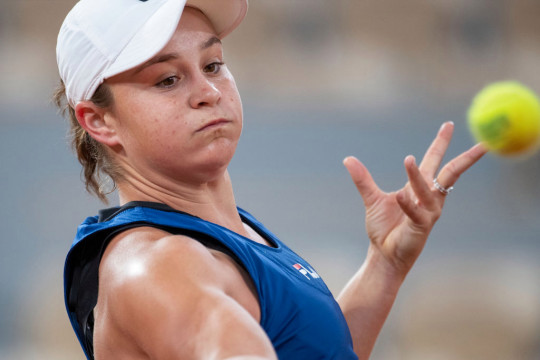 Ashleigh Barty of Australia practicing on Court Philippe-Chatrier with in preparation for the 2021 French Open Tennis Tournament at Roland Garros on May 25th 2021 in Paris, France.