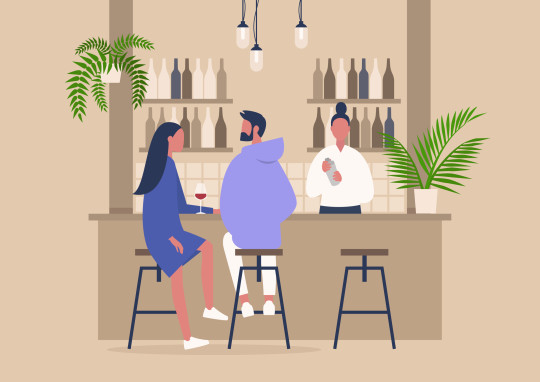 Wine bar scene, a bartender and two customers, relaxing atmosphere, interior design
