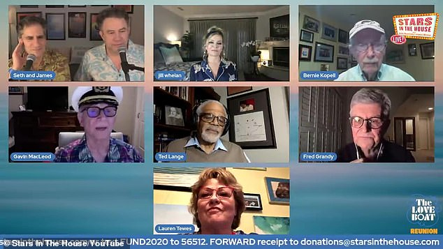Good times:MacLeod donned his signature captain's hat as he greeted his former cast members including Fred Grandy (Gopher), Ted Lange (Isaac), Bernie Kopell (Doc), Lauren Tewes (Julie), and Jill Whelan (Vicki) as well as fan favorite and frequent guest star Charo (April Lopez) and musician Jack Jones, who performed the series' famed opening theme song