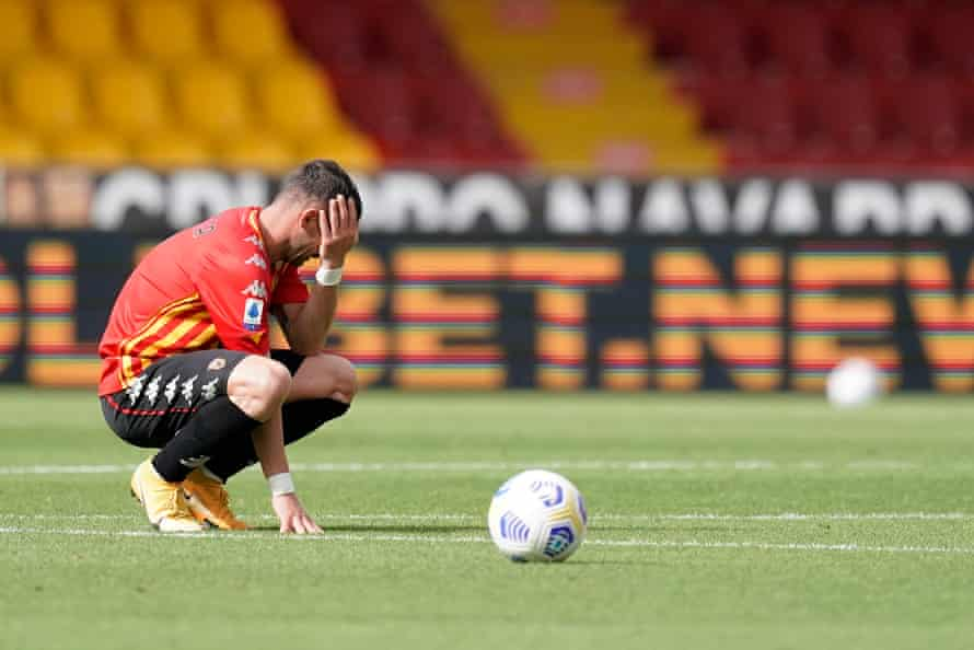 Benevento's Gaetano Letizia shows his dejection after being relegated.