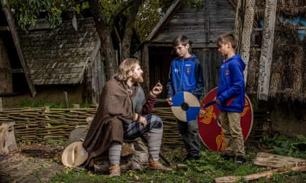 Youngsters learn about the Jorvik Viking Centre in York.