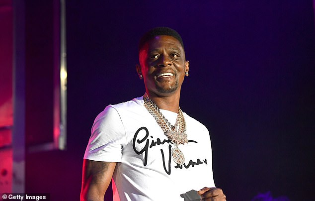 Still healing: After the November incident Boosie gave a health updated to VladTV on May 26 saying: 'I'm walking. I'm performing now. It ain't 100%'; pictured August 2020