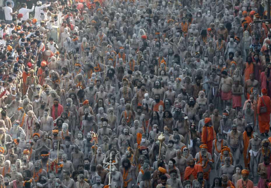 Naga Sadhus, or Hindu holy men participate in the procession for taking a dip in the Ganges River during Shahi Snan at Kumbh Mela, or the Pitcher Festival in Haridwar, 14 April
