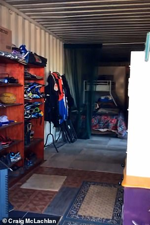 Pictured: Inside the storage unit where the actor lived for a time