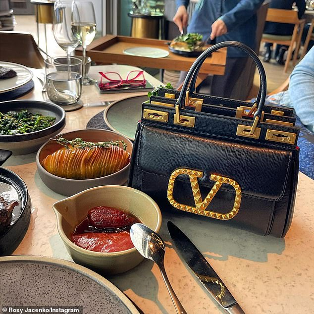 Bag it!Roxy had the medium size version of the Valentino Garavani Alcove handbag in grainy calfskin leather, valued at over $5600.Pixie had the small version of the exact same bag, in a more suitable size for a child, valued at $4900