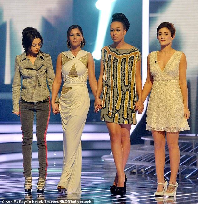 Support:Last month, Rebecca threw her support behind fellow contestant Katie Waissel after the singer claimed she had been sexually assaulted by a member of the show's team [pictured on the show with Katie [far right] alongside Cher Lloyd [far left] and the girls' mentor Cheryl