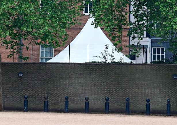 A gazebo erected in the garden of 10 Downing Street
