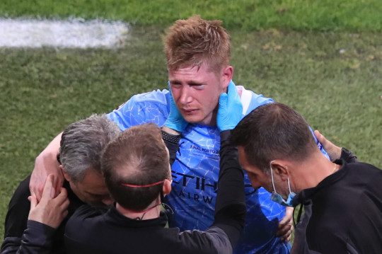 De Bruyne was forced off in the second half