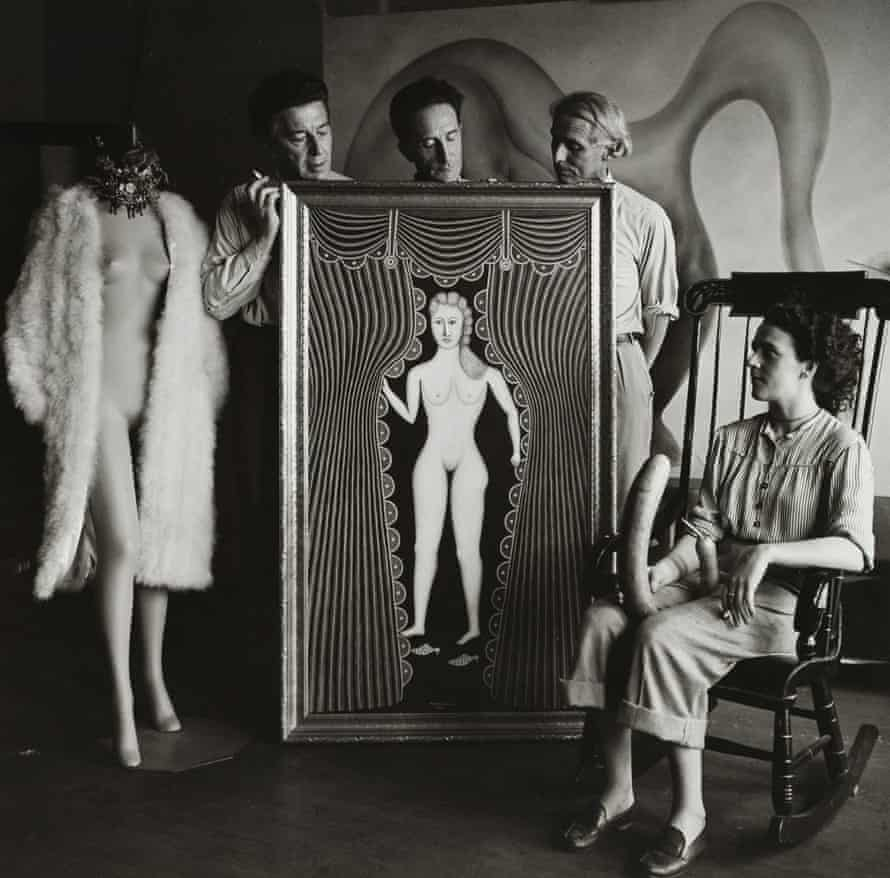 My surrealist friends … Carrington with André Breton, Marcel Duchamp and Max Ernst in 1942.