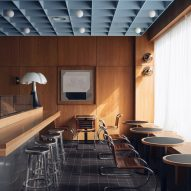 Maido restaurant by Child Studio with cherry wood panelling and soft blue coffered ceiling