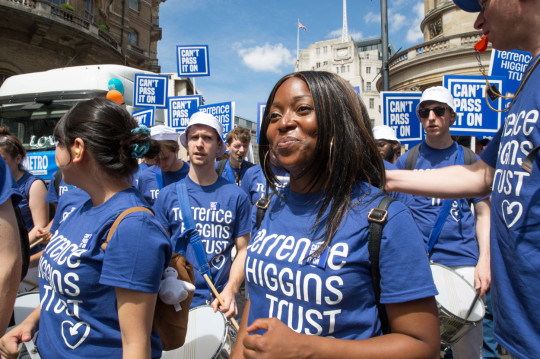 Terrence Higgins Trust marching at Pride