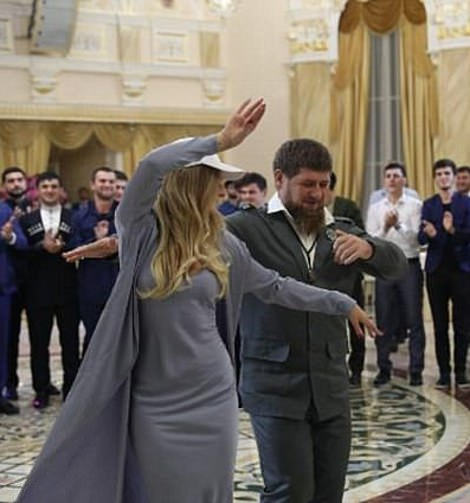 Peskova is seen dancing with Chechnyan leader Ramzan Khadyrov - who has been accused of torturing and killing gay men in 'concentration camps'
