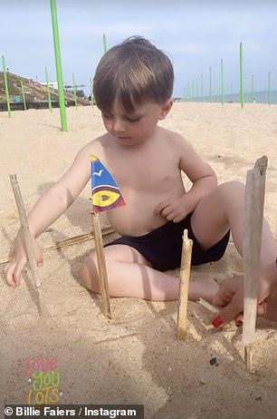 Adorable: Little Arthur was engrossed in building sand castles